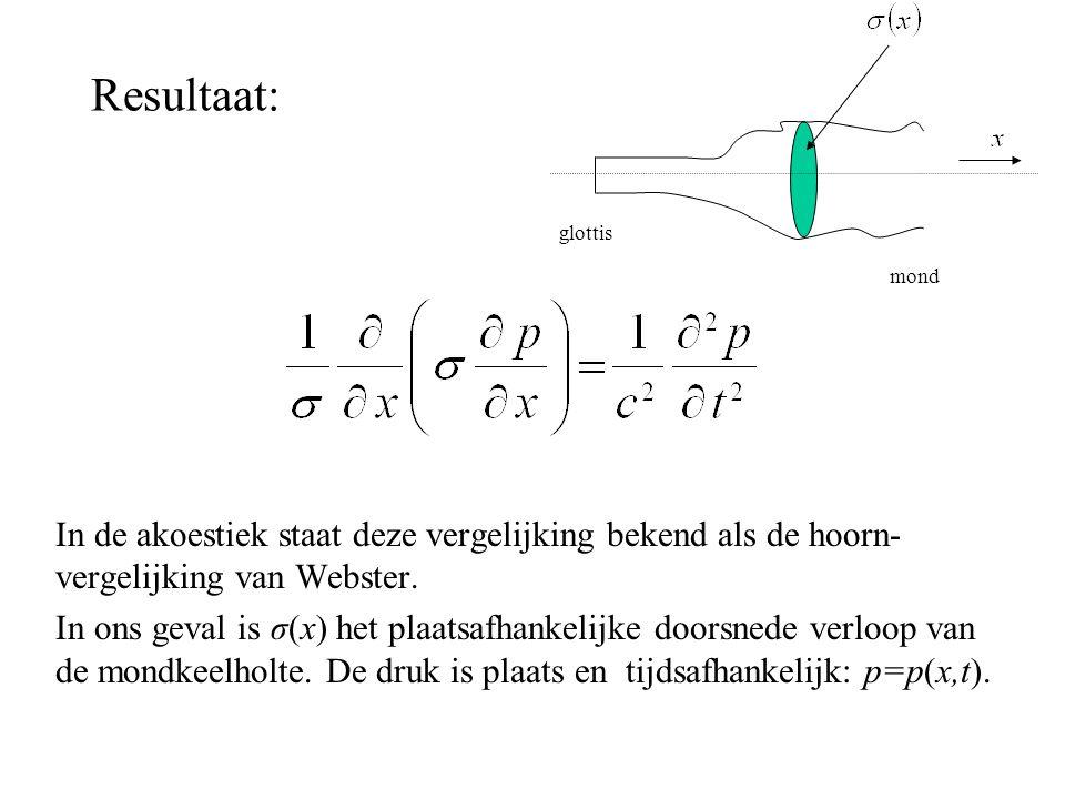 Resultaat: In de akoestiek staat deze vergelijking bekend als de hoorn- vergelijking van Webster. In ons geval is σ(x) het plaatsafhankelijke doorsned