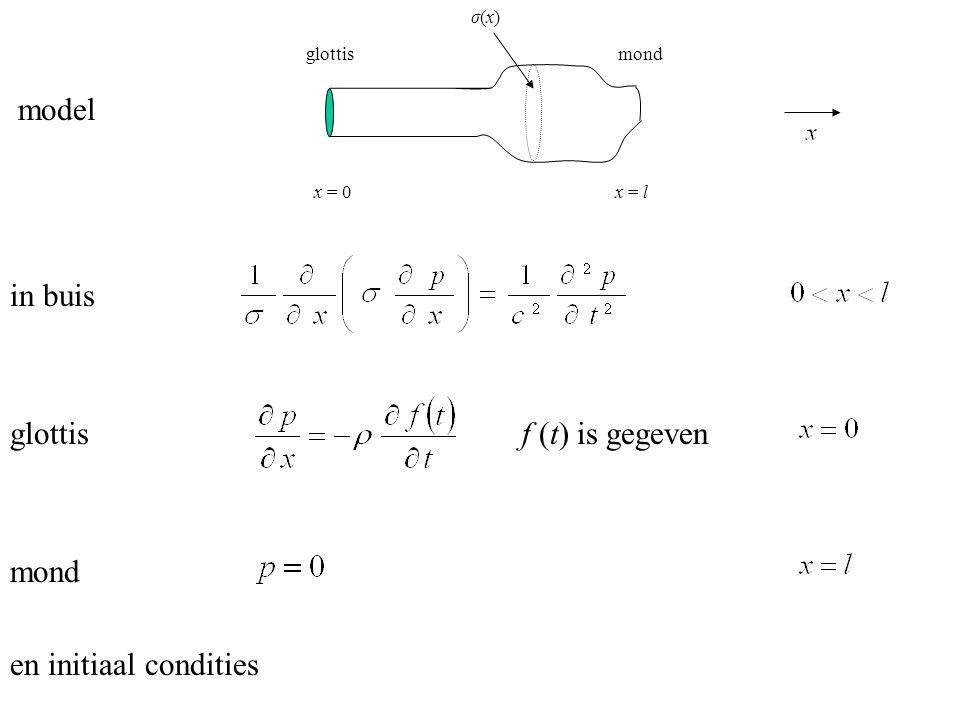 model in buis glottis f (t) is gegeven mond en initiaal condities x = 0x = l σ(x)σ(x) glottismond