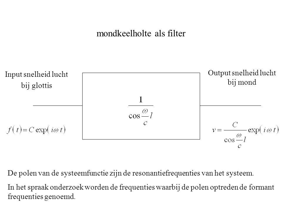 mondkeelholte als filter Input snelheid lucht bij glottis Output snelheid lucht bij mond De polen van de systeemfunctie zijn de resonantiefrequenties van het systeem.