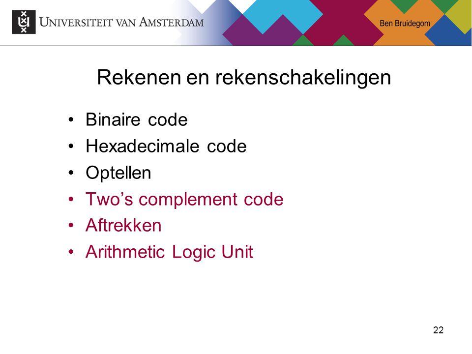 22 Rekenen en rekenschakelingen Binaire code Hexadecimale code Optellen Two's complement code Aftrekken Arithmetic Logic Unit
