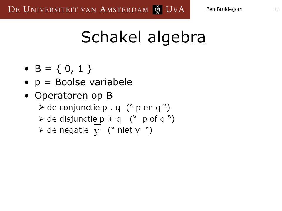 """Ben Bruidegom11 Schakel algebra B = { 0, 1 } p = Boolse variabele Operatoren op B  de conjunctie p. q ("""" p en q """")  de disjunctie p + q ("""" p of q """")"""
