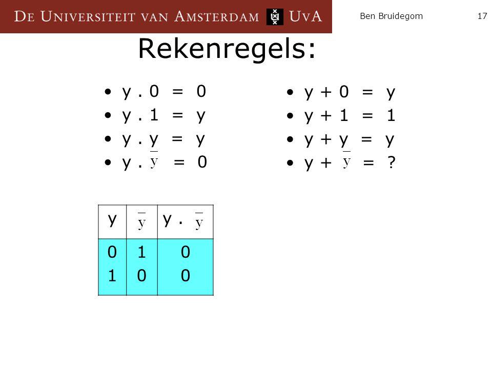 Ben Bruidegom17 Rekenregels: y. 0 = 0 y. 1 = y y. y = y y. = 0 y + 0 = y y + 1 = 1 y + y = y y + = ? yy. 0101 1010 0000