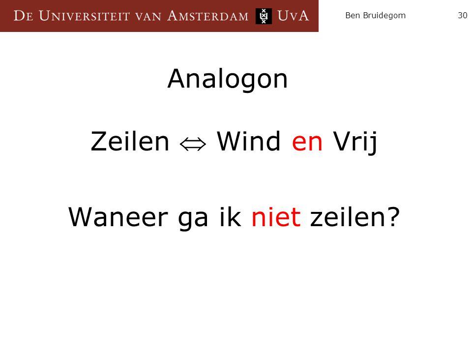 Ben Bruidegom30 Analogon Zeilen  Wind en Vrij Waneer ga ik niet zeilen?