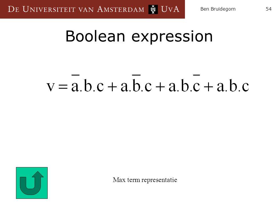Ben Bruidegom54 Boolean expression Max term representatie