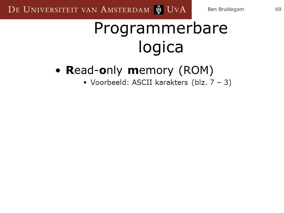 Ben Bruidegom69 Programmerbare logica Read-only memory (ROM)  Voorbeeld: ASCII karakters (blz. 7 – 3)