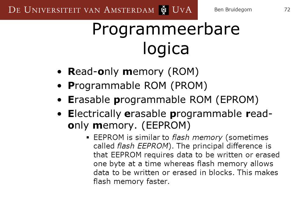 Ben Bruidegom72 Programmeerbare logica Read-only memory (ROM) Programmable ROM (PROM) Erasable programmable ROM (EPROM) Electrically erasable programm
