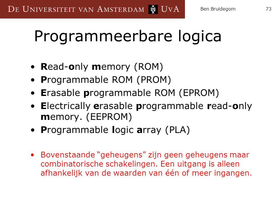 Ben Bruidegom73 Programmeerbare logica Read-only memory (ROM) Programmable ROM (PROM) Erasable programmable ROM (EPROM) Electrically erasable programm