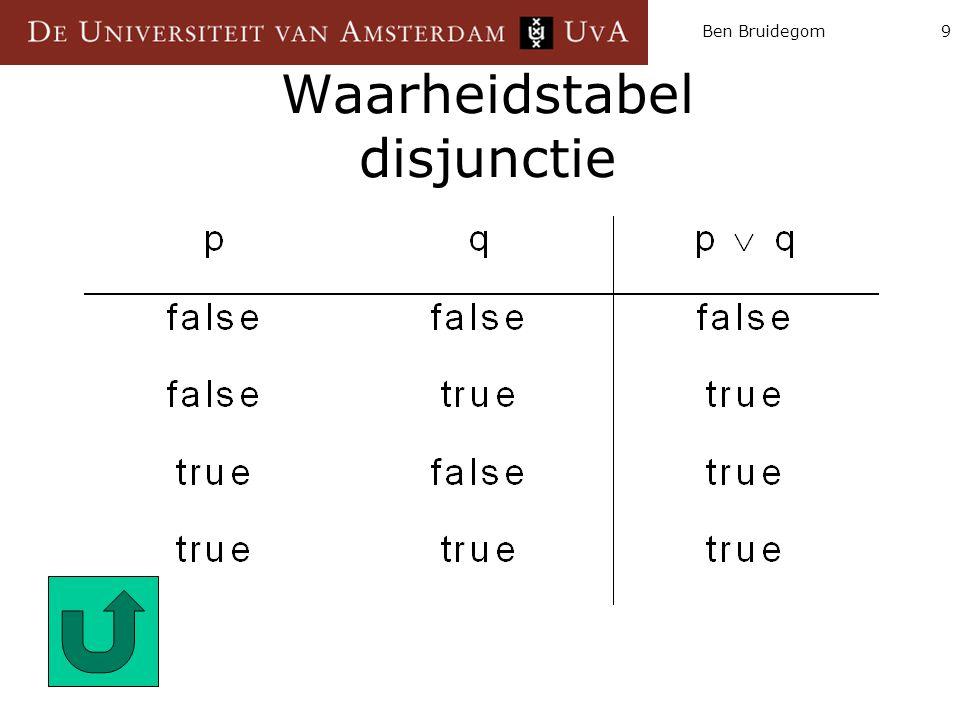 Ben Bruidegom9 Waarheidstabel disjunctie