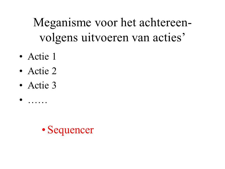 Meganisme voor het achtereen- volgens uitvoeren van acties' Actie 1 Actie 2 Actie 3 …… Sequencer