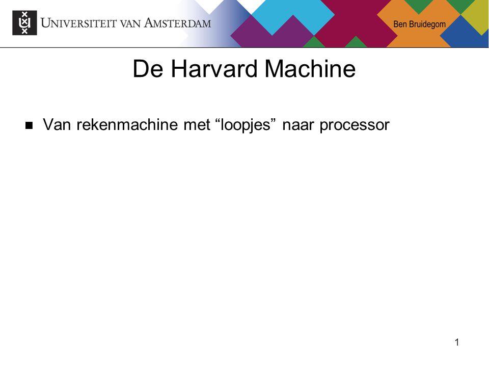 """1Ben Bruidegom 1 De Harvard Machine Van rekenmachine met """"loopjes"""" naar processor"""