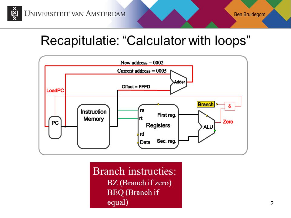"2Ben Bruidegom 2 Recapitulatie: ""Calculator with loops"" Branch instructies: BZ (Branch if zero) BEQ (Branch if equal) BRA (Branch always)"