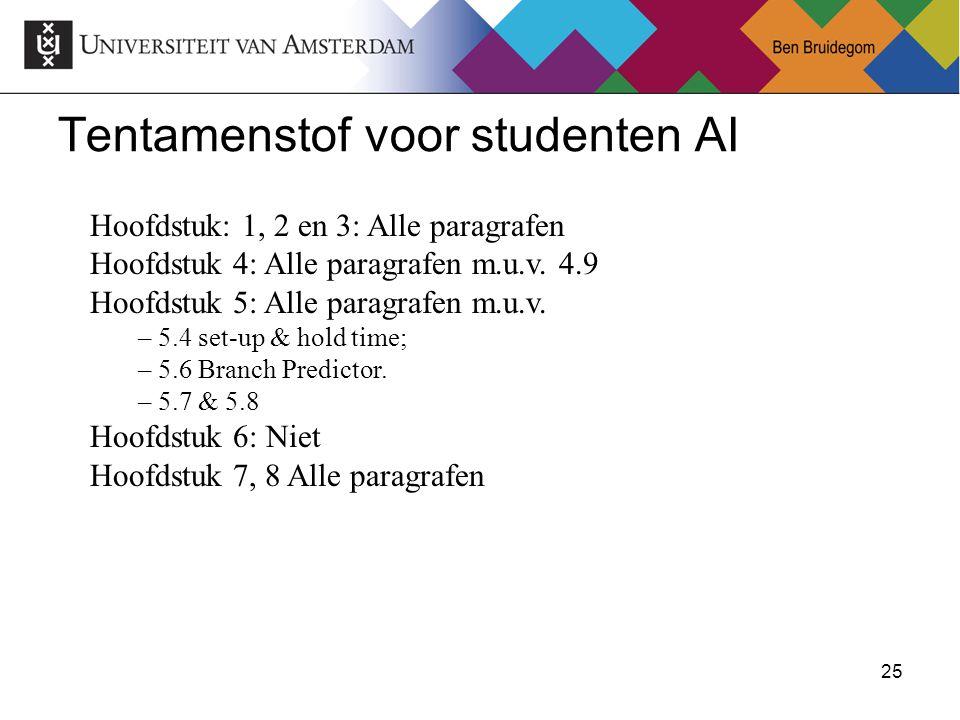 25Ben Bruidegom 25 Tentamenstof voor studenten AI Hoofdstuk: 1, 2 en 3: Alle paragrafen Hoofdstuk 4: Alle paragrafen m.u.v. 4.9 Hoofdstuk 5: Alle para