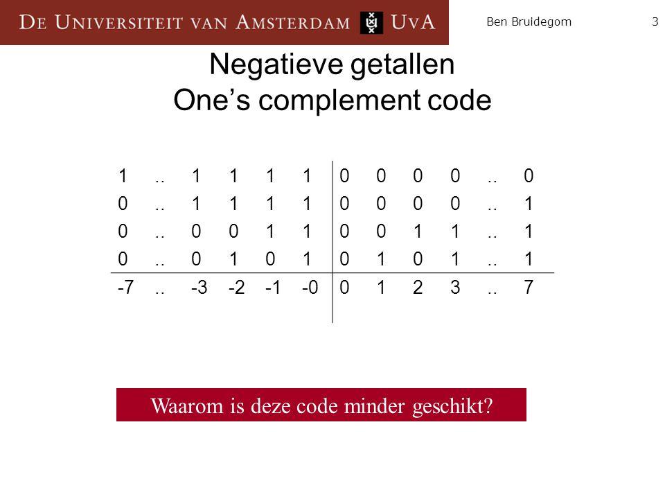 3Ben Bruidegom Negatieve getallen One's complement code 10001000..