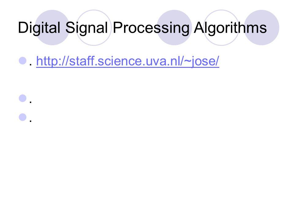 Digital Signal Processing Algorithms.