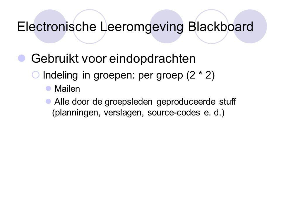 Electronische Leeromgeving Blackboard Gebruikt voor eindopdrachten  Indeling in groepen: per groep (2 * 2) Mailen Alle door de groepsleden geproduceerde stuff (planningen, verslagen, source-codes e.