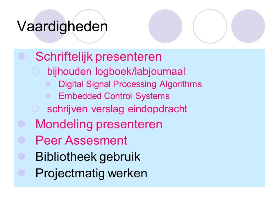 Vaardigheden Schriftelijk presenteren  bijhouden logboek/labjournaal Digital Signal Processing Algorithms Embedded Control Systems  schrijven verslag eindopdracht Mondeling presenteren Peer Assesment Bibliotheek gebruik Projectmatig werken