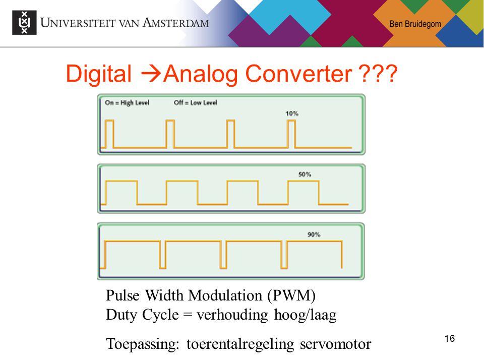 16Ben Bruidegom 16 Digital  Analog Converter ??? Pulse Width Modulation (PWM) Duty Cycle = verhouding hoog/laag Toepassing: toerentalregeling servomo