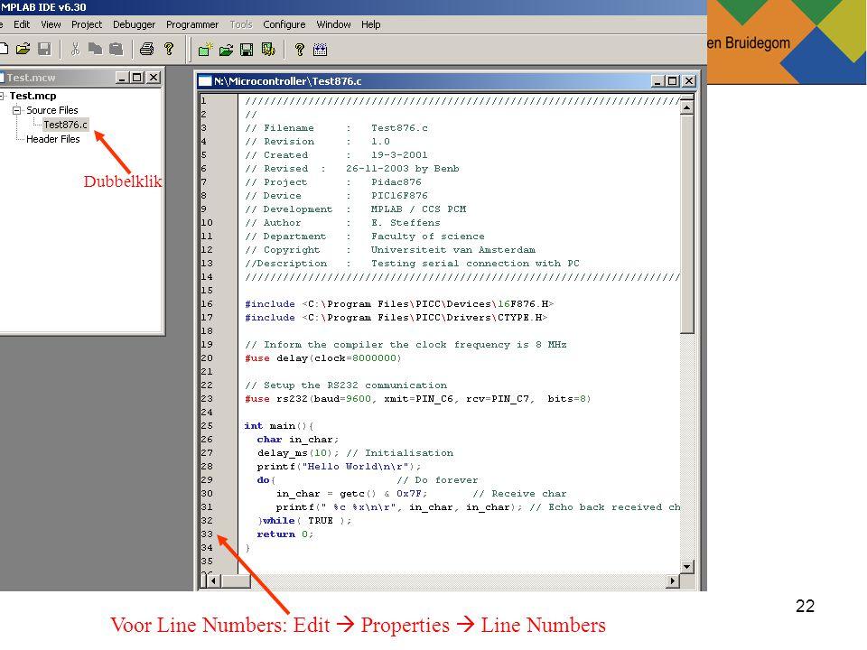 22Ben Bruidegom 22 Dubbelklik Voor Line Numbers: Edit  Properties  Line Numbers