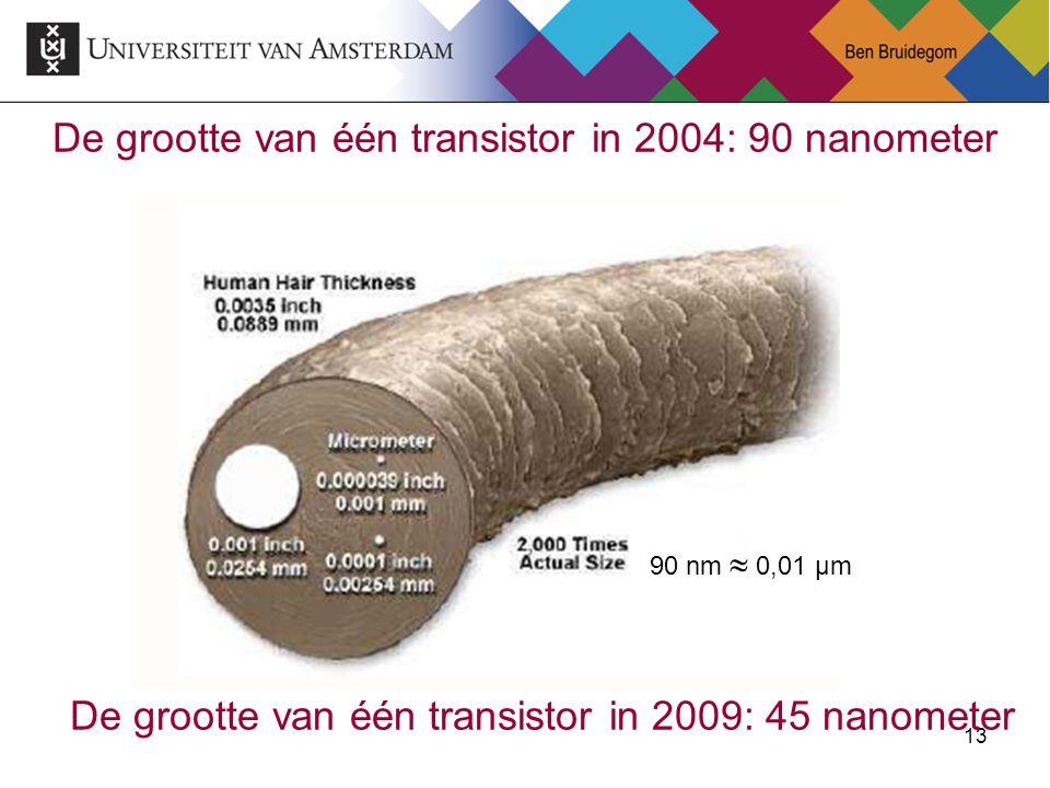 13 De grootte van één transistor in 2004: 90 nanometer 90 nm  0,01 µm De grootte van één transistor in 2009: 45 nanometer