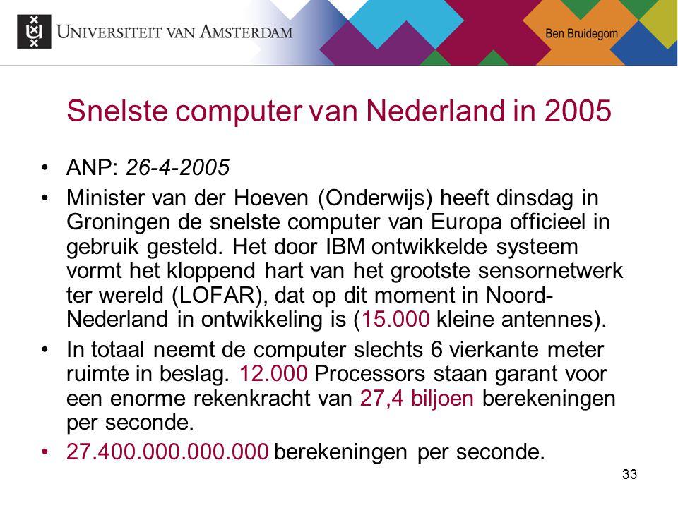 33 Snelste computer van Nederland in 2005 ANP: 26-4-2005 Minister van der Hoeven (Onderwijs) heeft dinsdag in Groningen de snelste computer van Europa