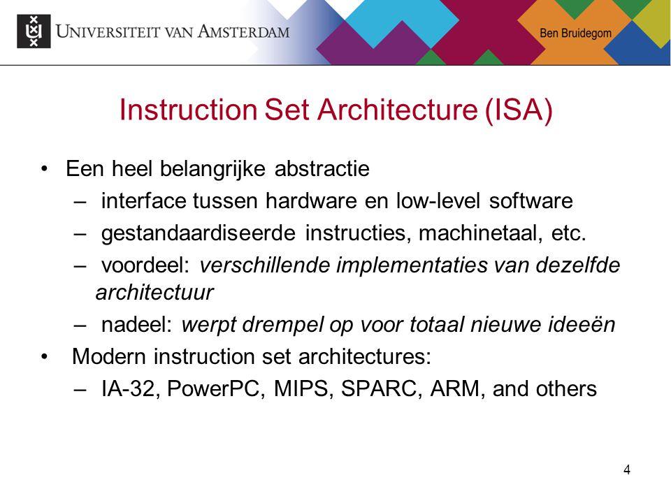 4 Instruction Set Architecture (ISA) Een heel belangrijke abstractie – interface tussen hardware en low-level software – gestandaardiseerde instructie