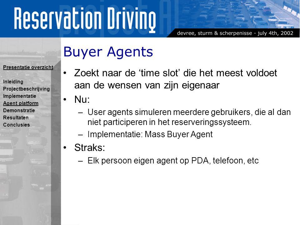 Buyer Agents Zoekt naar de 'time slot' die het meest voldoet aan de wensen van zijn eigenaar Nu: –User agents simuleren meerdere gebruikers, die al dan niet participeren in het reserveringssysteem.