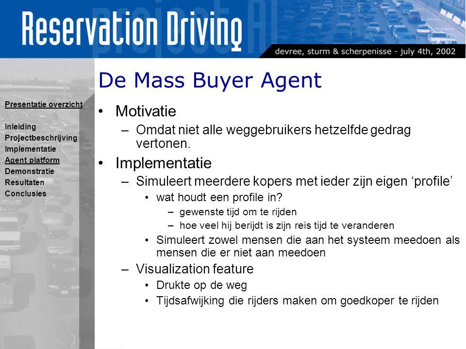 De Mass Buyer Agent Motivatie –Omdat niet alle weggebruikers hetzelfde gedrag vertonen.
