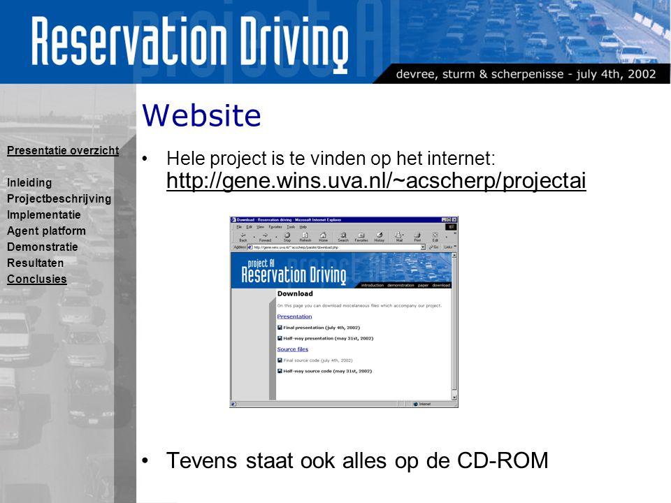 Website Hele project is te vinden op het internet: http://gene.wins.uva.nl/~acscherp/projectai Tevens staat ook alles op de CD-ROM Presentatie overzicht Inleiding Projectbeschrijving Implementatie Agent platform Demonstratie Resultaten Conclusies