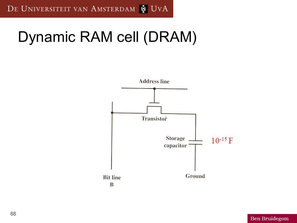Ben Bruidegom 68 Dynamic RAM cell (DRAM) 10 -15 F