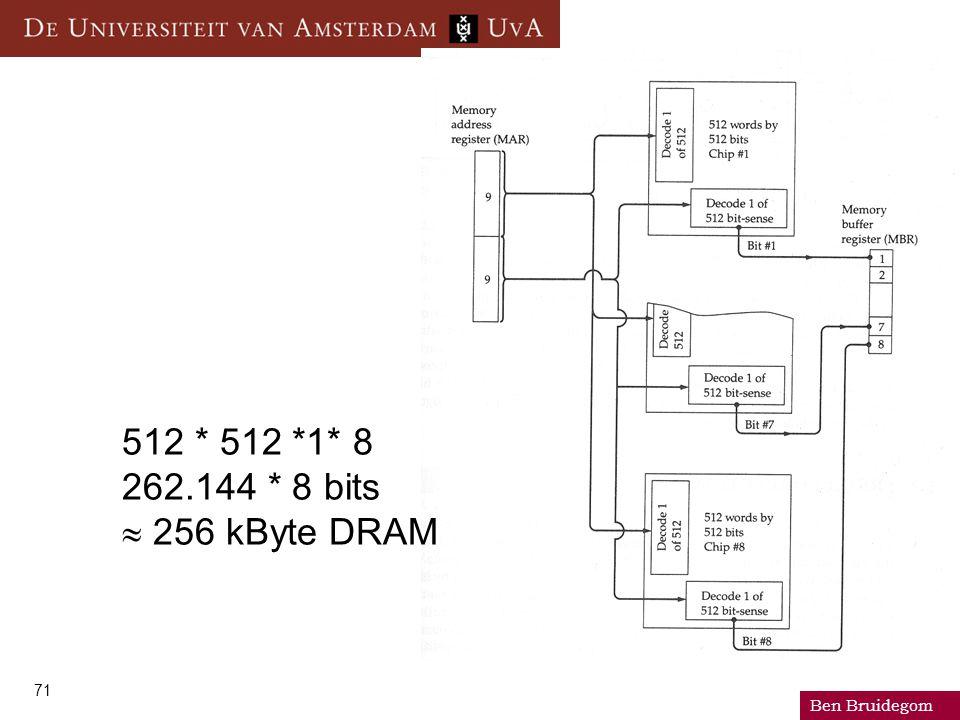 Ben Bruidegom 71 512 * 512 *1* 8 262.144 * 8 bits  256 kByte DRAM