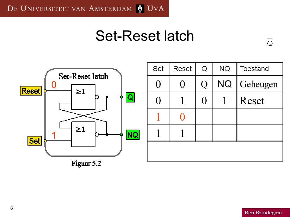 Ben Bruidegom 8 Set-Reset latch SetResetQNQToestand 00 Q NQ Geheugen 0101Reset 10 11 0 1