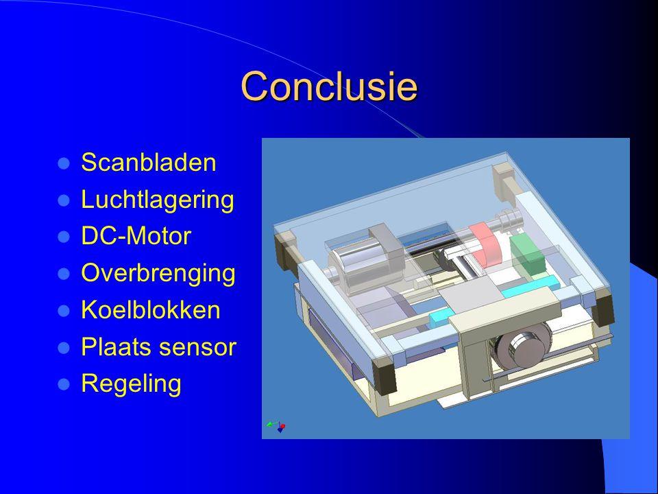 Conclusie Scanbladen Luchtlagering DC-Motor Overbrenging Koelblokken Plaats sensor Regeling
