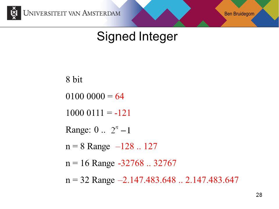 28 8 bit 0100 0000 = 64 1000 0111 = -121 Range: 0.. n = 8 Range –128.. 127 n = 16 Range -32768.. 32767 n = 32 Range –2.147.483.648.. 2.147.483.647 Sig