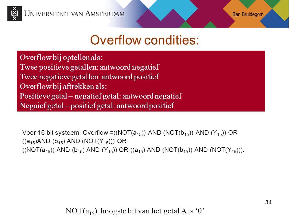 34 Overflow condities: Voor 16 bit systeem: Overflow =((NOT(a 15 )) AND (NOT(b 15 )) AND (Y 15 )) OR ((a 15 )AND (b 15 ) AND (NOT(Y 15 ))) OR ((NOT(a