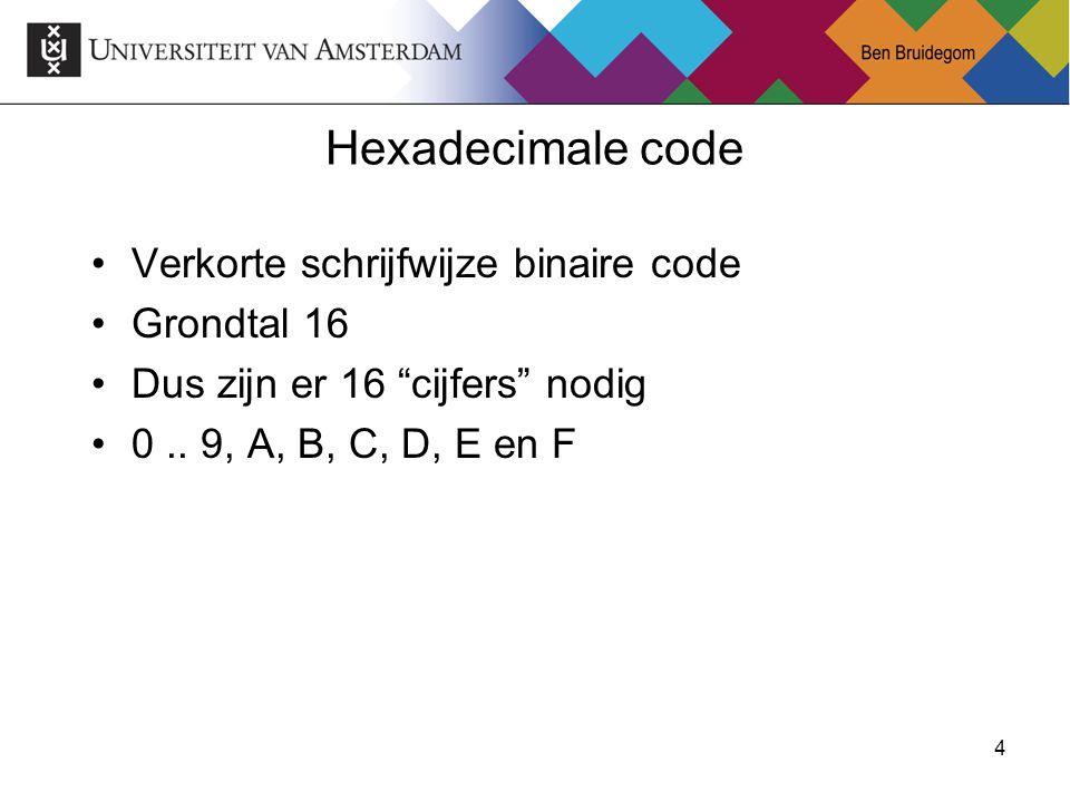 """4 Hexadecimale code Verkorte schrijfwijze binaire code Grondtal 16 Dus zijn er 16 """"cijfers"""" nodig 0.. 9, A, B, C, D, E en F"""