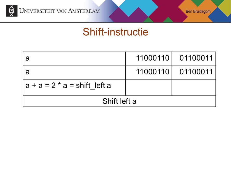 Shift-instructie a1100011001100011 a1100011001100011 a + a = 2 * a = shift_left a Shift left a