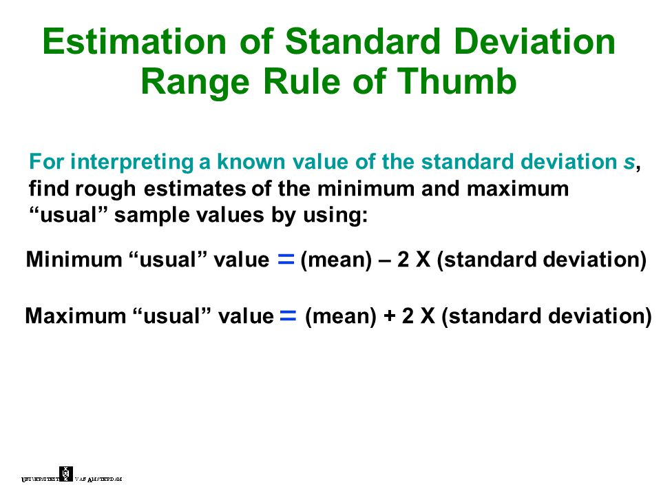 Estimation of Standard Deviation Range Rule of Thumb For interpreting a known value of the standard deviation s, find rough estimates of the minimum a