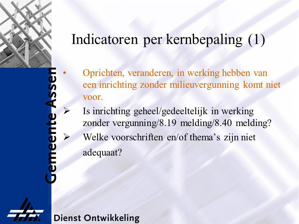 Indicatoren per kernbepaling (1) Oprichten, veranderen, in werking hebben van een inrichting zonder milieuvergunning komt niet voor.  Is inrichting g