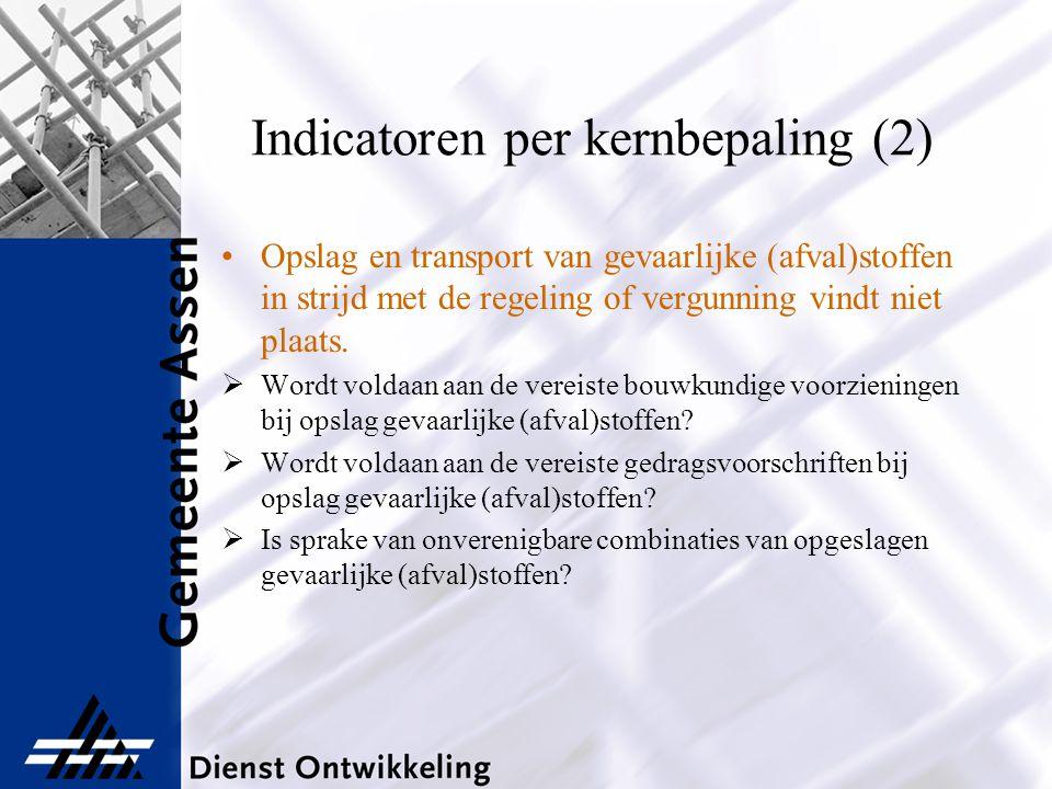 Indicatoren per kernbepaling (2) Opslag en transport van gevaarlijke (afval)stoffen in strijd met de regeling of vergunning vindt niet plaats.  Wordt