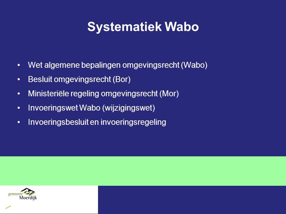 Systematiek Wabo Wet algemene bepalingen omgevingsrecht (Wabo) Besluit omgevingsrecht (Bor) Ministeriële regeling omgevingsrecht (Mor) Invoeringswet Wabo (wijzigingswet) Invoeringsbesluit en invoeringsregeling