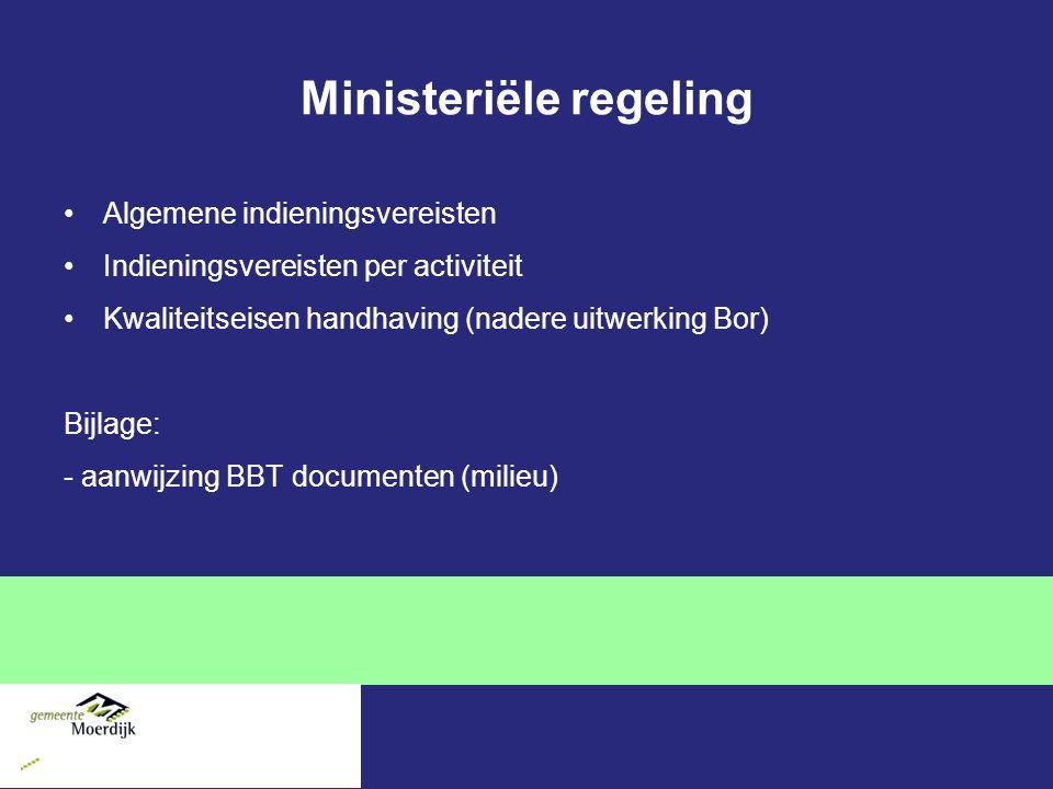Ministeriële regeling Algemene indieningsvereisten Indieningsvereisten per activiteit Kwaliteitseisen handhaving (nadere uitwerking Bor) Bijlage: - aanwijzing BBT documenten (milieu)