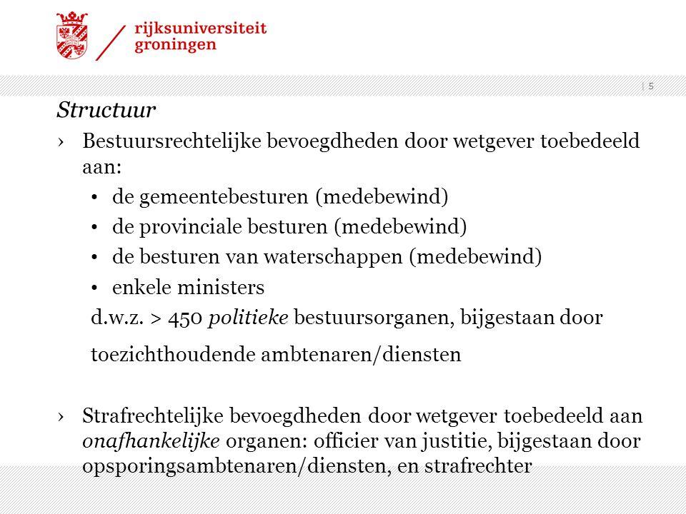 | 5 Structuur ›Bestuursrechtelijke bevoegdheden door wetgever toebedeeld aan: de gemeentebesturen (medebewind) de provinciale besturen (medebewind) de