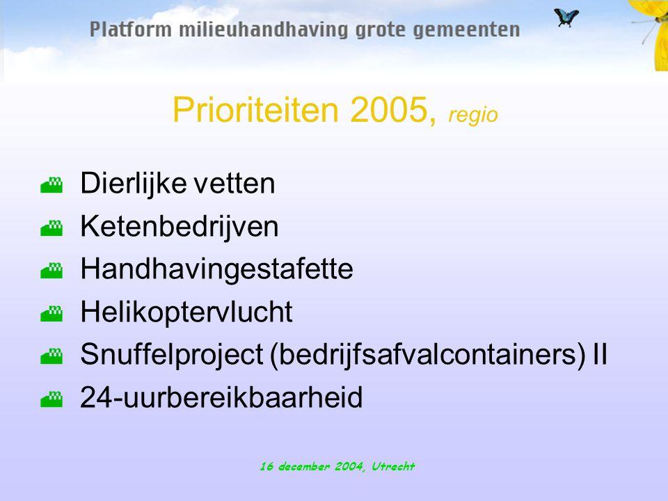 16 december 2004, Utrecht Prioriteiten 2005, regio Dierlijke vetten Ketenbedrijven Handhavingestafette Helikoptervlucht Snuffelproject (bedrijfsafvalcontainers) II 24-uurbereikbaarheid