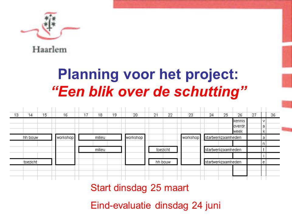Planning voor het project: Een blik over de schutting Start dinsdag 25 maart Eind-evaluatie dinsdag 24 juni