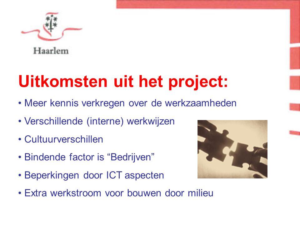 Uitkomsten uit het project: Meer kennis verkregen over de werkzaamheden Verschillende (interne) werkwijzen Cultuurverschillen Bindende factor is Bedrijven Beperkingen door ICT aspecten Extra werkstroom voor bouwen door milieu