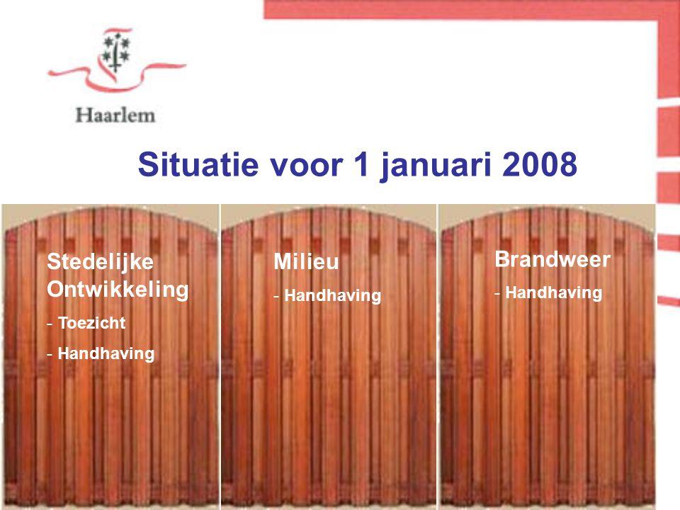 Stedelijke Ontwikkeling - Toezicht - Handhaving Milieu - Handhaving Brandweer - Handhaving Situatie voor 1 januari 2008