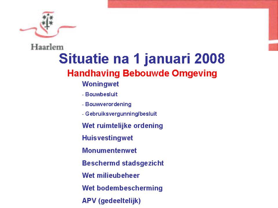 Stedelijke Ontwikkeling Woningwet - Bouwbesluit - Bouwverordening Wet ruimtelijke ordening Huisvestingwet Monumentenwet Beschermd stadsgezicht APV (gedeeltelijk) Situatie voor 1 januari 2008 Milieu.