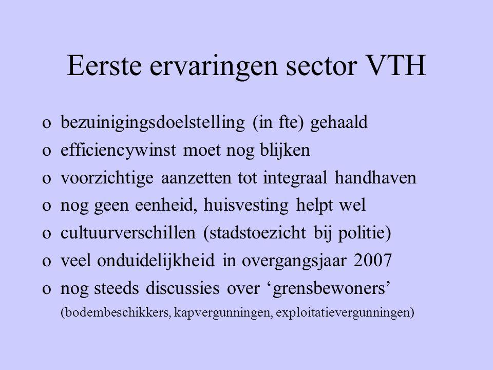 Eerste ervaringen sector VTH obezuinigingsdoelstelling (in fte) gehaald oefficiencywinst moet nog blijken ovoorzichtige aanzetten tot integraal handha