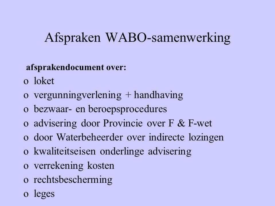 Afspraken WABO-samenwerking afsprakendocument over: oloket overgunningverlening + handhaving obezwaar- en beroepsprocedures oadvisering door Provincie