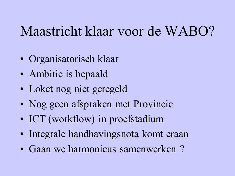Maastricht klaar voor de WABO? Organisatorisch klaar Ambitie is bepaald Loket nog niet geregeld Nog geen afspraken met Provincie ICT (workflow) in pro